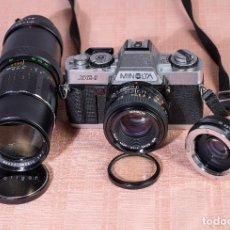 Cámara de fotos: MINOLTA XG-1 DE 35MM CON OBJETIVO 50MM 1.7, + ZOOM SOLIGOR 90-230 Y DUPLICADOR DE FOCAL - IMPECABLE. Lote 87538068