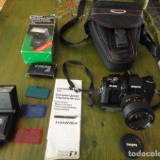 Cámara de fotos: CÁMARA ANALÓGICA SAMYANG DF-400X CON FLASH HANIMEX TZ*2 CON ACCESORIOS. Lote 96245775
