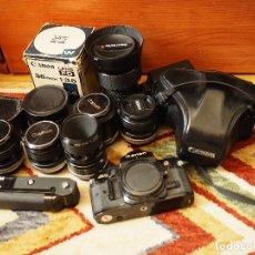 Cámara de fotos: CANON A1 Y OBJETIVOS DE CANON FD (28MM, 35MM, 50MM, 50MM MACRO, 100MM Y MÁS). Lote 119244435
