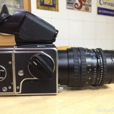 Cámara de fotos: HASSELBLAD 503 CX CON OBJETIVO CARL ZEISS TESSAR 4.5 160, RESPALDO 16 Y VISOR PME5. Lote 133296102