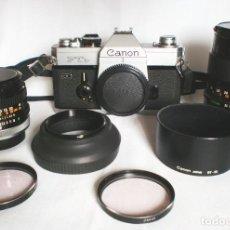 Cámara de fotos: CAMARA CANON FTB QL + OBJETIVOS: 50MM 1:1.8 + 135MM 1:3.5 - FD - RÉFLEX. Lote 143123542