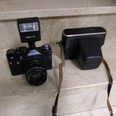 Cámara de fotos: CAMARA FOTOGRAFICA ZENIT 11 RUSIA FUNDA DE CUERO CON OBJETIVO Y FLASH. Lote 143627806