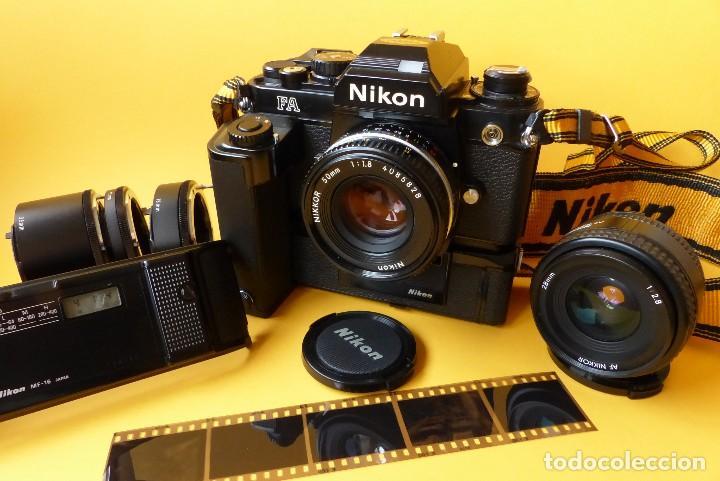 CAMARA NIKON FA + NIKKOR 50 MM 1.8 + NIKKOR 28 MM + MOTOR + RESPALDO + CORREA NIKON (Cámaras Fotográficas - Réflex (no autofoco))
