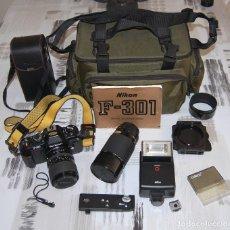 Cámara de fotos: CAMARA NIKON F-301 + OBJETIVO 75-200MM + FLASH + MALETA + COMPLEMENTOS. Lote 161451410