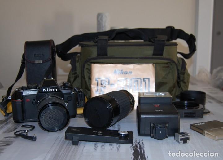 Cámara de fotos: CAMARA NIKON F-301 + OBJETIVO 75-200MM + FLASH + MALETA + COMPLEMENTOS - Foto 2 - 161451410