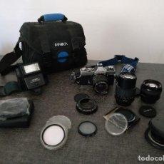 Cámara de fotos: MINOLTA XD-7 CON OBJETIVOS, FILTROS, FLASH Y OTROS ACCESORIOS. Lote 165637362