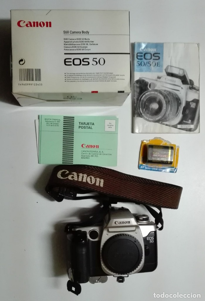 CÁMARA ANALÓGICA CANON EOS 50 (CUERPO, EMBALAJE, BATERÍA, ETC.) (Cámaras Fotográficas - Réflex (no autofoco))
