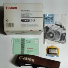 Cámara de fotos: CÁMARA ANALÓGICA CANON EOS 50 (CUERPO, EMBALAJE, BATERÍA, ETC.). Lote 176774985