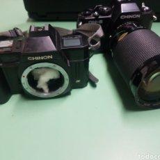 Cámara de fotos: 2 CÁMARAS CHINON. CM-5 CON ZOOM VIVITAR 28-200MM Y CP-7M. Lote 182825842