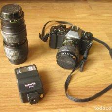 Cámara de fotos: EQUIPO DE FOTOS O FOTOGRAFÍA CON CÁMARA MAMIYA ZM, FLASH Y TELEOBJETIVO ZOOM SEKOR E 80-200 MM. Lote 193684791