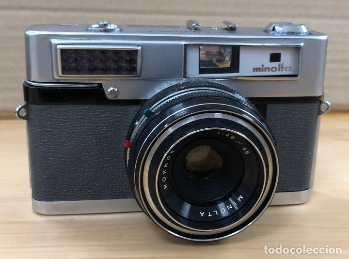 CAMARA FOTOGRAFICA MINOLTA ROKKOR. 1:2.8 / 45. EN ESTUCHE ORIGINAL. FUNCIONA. AÑOS 70 (Cámaras Fotográficas - Réflex (no autofoco))