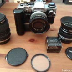 Cámara de fotos: OLYMPUS OM10 + OBJETIVOS Y EXTRAS. Lote 216407557