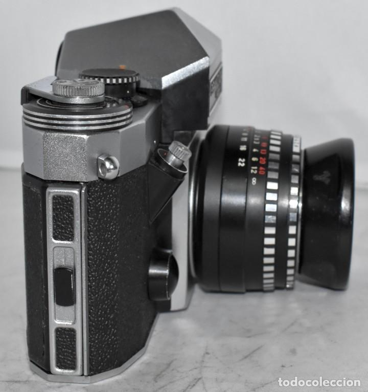 Cámara de fotos: CAMARA REFLEX MANUAL..ALEMANIA (DDR) 1968..PRAKTICA SUPER TL+DOMIPLAN 2,8/50 Y PARASOL METAL - Foto 8 - 220279555
