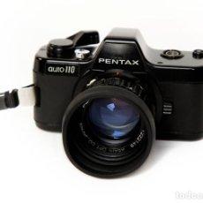 Cámara de fotos: PENTAX AUTO 110-MINIATURA - EQUIPO: 24MM/2.8 + 50MM/2.8 + WINDER + FLASH AF130P. Lote 221144837