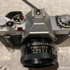Cámara de fotos: CANON AV1 AV-1 + OBJETIVO FD 50 MM F/1.8 SLR CÁMARA. Lote 221692942
