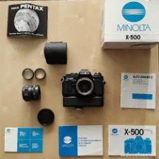 Cámara de fotos: MINOLTA X-500 CON AUTOWINDER G Y ACCESORIOS. Lote 225603433