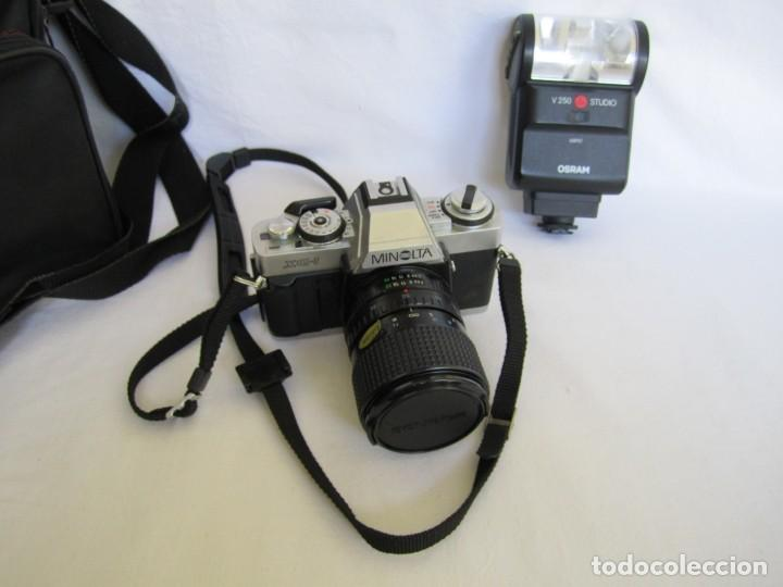 Cámara de fotos: Cámara MINOLTA XG-1, Objetivo 35-70 mm., Flash Osram V-250 Studio, maletín y manual en español - Foto 2 - 227103975