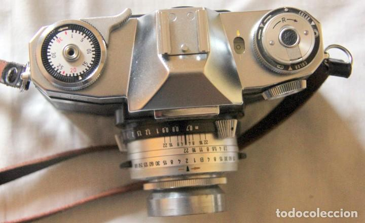 Cámara de fotos: Zeiss Ikon Contaflex SUPER-OBJETIVO Synchro-compur Carl Zeiss Tessar 2.8/50 mm + FLASH + FUNDA PIEL - Foto 4 - 227648570