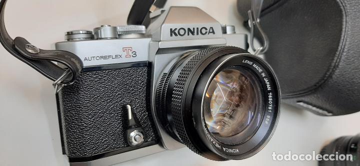CAMARA ANALOGICA KONICA T3 COMO NUEVA OBJETIVO DE 50 MM 1,4 + ZOOM SIGMA 75-200 Y ESTUCHES (Cámaras Fotográficas - Réflex (no autofoco))