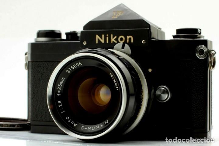 NIKON F BLACK.CON PRISMA SF Y 35 MM F/2,8 (Cámaras Fotográficas - Réflex (no autofoco))