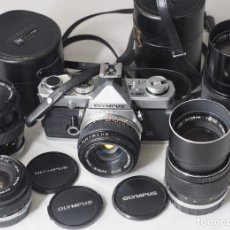 Câmaras de fotos: CÁMARA FOTOGRAFICA OLYMPUS OM1N + 5 OBJETIVOS.. Lote 239648105