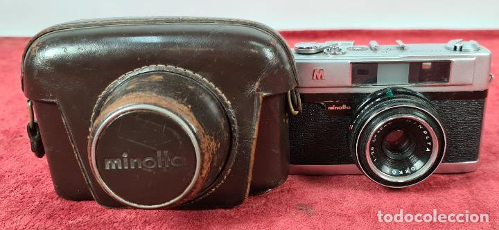 CAMARA FOTOGRAFICA MINOLTA MODELO A-5. JAPÓN. FUNDA ORIGINAL DE CUERO. 1960. (Cámaras Fotográficas - Réflex (no autofoco))