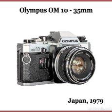 Cámara de fotos: OLYMPUS OM10, CLÁSICA JAPONESA REFLEX DE 1979. EN EXCELENTE ESTADO Y COMPLEMENTOS.. Lote 244674075