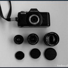 Cámara de fotos: MINI CÁMARA REFLEX PENTAX AUTO 110.... CON TRES OBJETIVOS INTERCAMBIABLES DE 50, 24, Y 18 MM. Lote 245008475