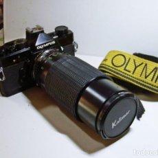 Câmaras de fotos: OLYMPUS OM-1 NEGRA, POCO COMÚN Y EN EXCELENTE ESTADO + ZOOM KALIMAR 80-200. Lote 290183958
