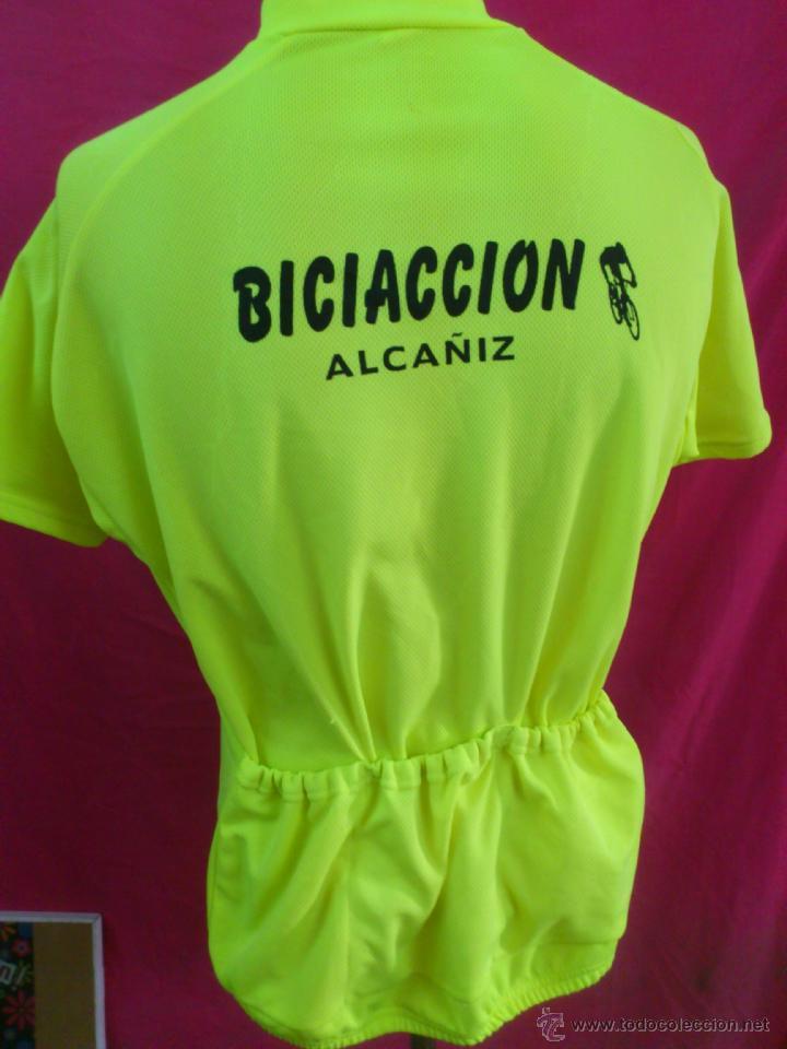 Coleccionismo deportivo: MAILLOT CICLISMO CICLISTA VERDE FOSFORITO BICIACCION ALCAÑIZ TALLA XXXL - Foto 3 - 45573379