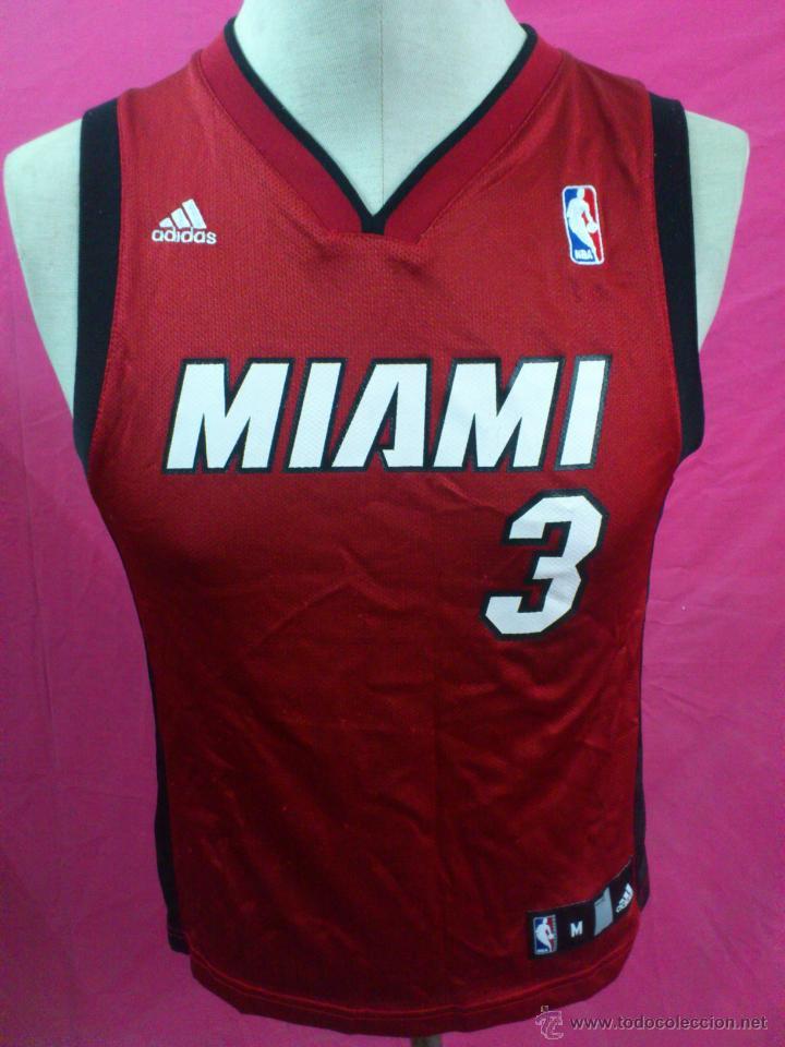 5ee01396a CAMISETA BALONCESTO BASKET ORIGINAL ADIDAS NBA MIAMI HEAT DORSAL 3 WADE  TALLA M (Coleccionismo Deportivo