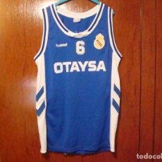 Coleccionismo deportivo: R.MADRID CAMISETA DE BALONCESTO 1990 HUMMEL PUBLICIDAD OTAYSA Nº 6 DE PARTIDO . Lote 112926647