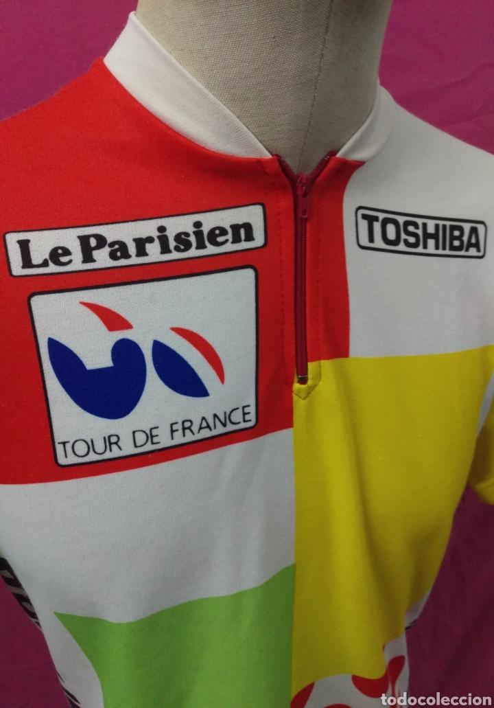Coleccionismo deportivo: Camiseta maillot ciclista original vintage TOSHIBA LE PARISIEN TOUR DE FRANCE talla L - Foto 3 - 113953959