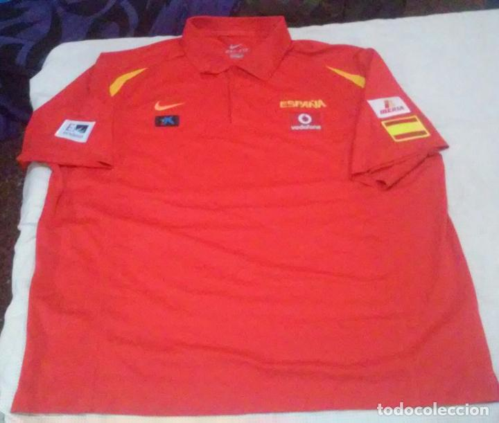 CAMISETA POLO ESPAÑA CON SPONSOR: ENDESA, IBERCAJA, VODAFONE E IBERIA (DRI-FIT)TALLA MUY GRANDE(3XL) (Coleccionismo Deportivo - Ropa y Complementos - Camisetas otros Deportes)
