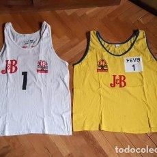 Coleccionismo deportivo: PAREJA DE CAMISETAS DEL CAMPEONATO DE ESPAÑA DE VOLEY PLAYA JB - 1994 Y 1995 - FEDERACIÓN ESPAÑOLA. Lote 201474393