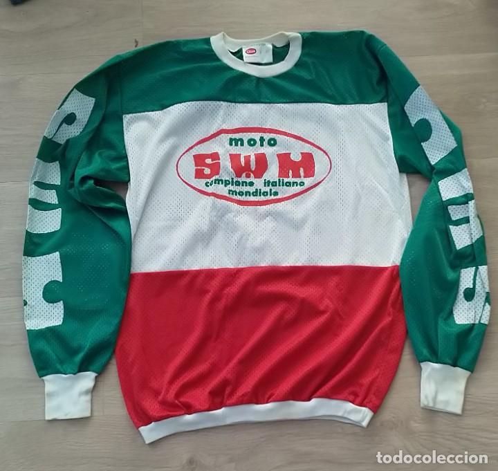 CAMISETA SUDADERA DE COLECCIÓN DE MOTOCROS ORIGINAL CLICE AÑOS 70 SWM (Coleccionismo Deportivo - Ropa y Complementos - Camisetas otros Deportes)