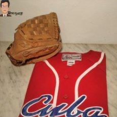 Coleccionismo deportivo: CAMISETA CUBA BÉISBOL - CAMISETA OFICIAL SELECCIÓN CUBANA BASEBALL + GUANTE CUERO REGALO. Lote 287713128