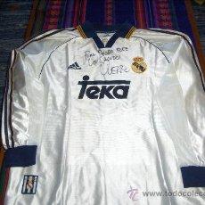 Coleccionismo deportivo: CAMISETA XL ORIGINAL ADIDAS REAL MADRID 1999 USADA, SUDADA Y FIRMADA POR FERNANDO HIERRO. CON REGALO. Lote 19500030
