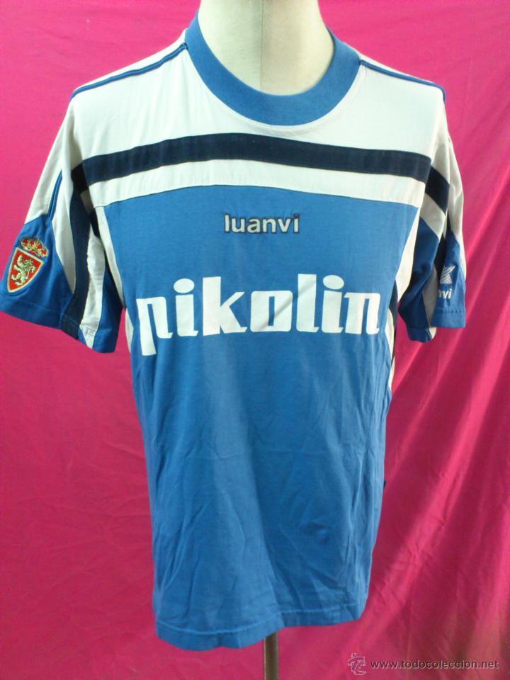 CAMISETA FUTBOL ENTRENO ORIGINAL LUANVI REAL ZARAGOZA PIKOLIN. TIPO ALGODON (Coleccionismo Deportivo - Ropa y Complementos - Camisetas de Fútbol)