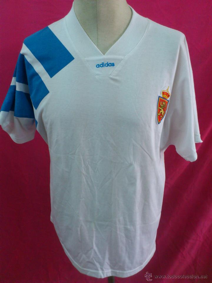 CAMISETA FUTBOL ORIGINAL ADIDAS REAL ZARAGOZA . AÑO 1992. TIPO ALGODÒN. TALLA L (Coleccionismo Deportivo - Ropa y Complementos - Camisetas de Fútbol)