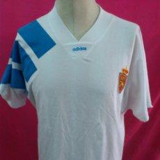 Coleccionismo deportivo: CAMISETA FUTBOL ORIGINAL ADIDAS REAL ZARAGOZA . AÑO 1992. TIPO ALGODÒN. TALLA L. Lote 44838614