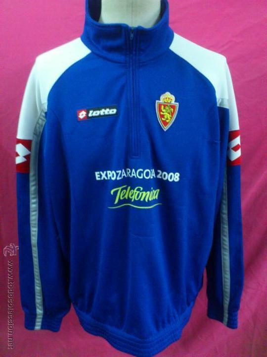 CAMISETA SUDADERA FUTBOL ORIGINAL LOTTO REAL ZARAGOZA EXPO 2008 TELEFONICA TALLA XXL (Coleccionismo Deportivo - Ropa y Complementos - Camisetas de Fútbol)