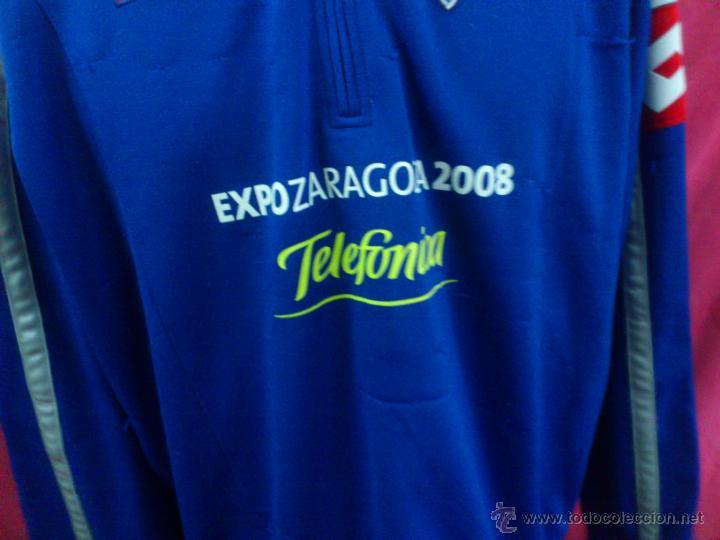 Coleccionismo deportivo: CAMISETA SUDADERA FUTBOL ORIGINAL LOTTO REAL ZARAGOZA EXPO 2008 TELEFONICA TALLA XXL - Foto 3 - 47318230