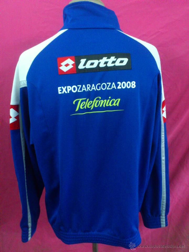 Coleccionismo deportivo: CAMISETA SUDADERA FUTBOL ORIGINAL LOTTO REAL ZARAGOZA EXPO 2008 TELEFONICA TALLA XXL - Foto 4 - 47318230