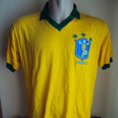 Coleccionismo deportivo: (F-069)CAMISETA SELECCION DE BRASIL,ESCUDO Y ESTRELLAS BORDADOS,1986-89. Lote 49872626
