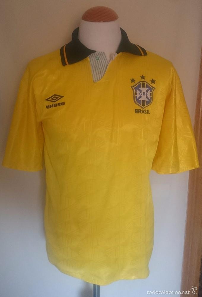CAMISETA FUTBOL SELECCION BRASIL UMBRO 1991 (Coleccionismo Deportivo - Ropa y Complementos - Camisetas de Fútbol)