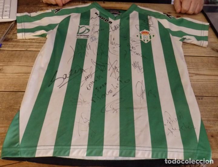 CAMISETA INFANTIL CENTENARIO REAL BETIS BALOMPIE, AUTOGRAFIADA PLANTILLA 2008-2009 (Coleccionismo Deportivo - Ropa y Complementos - Camisetas de Fútbol)