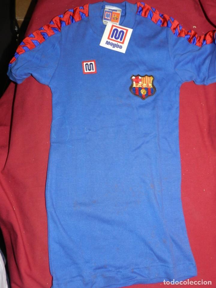 Coleccionismo deportivo: (M) FC Barcelona Camiseta Meyba azul de Entrenamiento para Estrenar Talla XP, Señales de Uso Normal - Foto 2 - 170525764