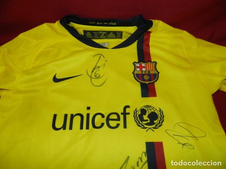 (M) CAMISETA OFICIAL FC BARCELONA TEMPORADA 2008 - 2009 FIRMADA POR ANDRÉS INIESTA, XAVI HERNÁNDEZ, (Coleccionismo Deportivo - Ropa y Complementos - Camisetas de Fútbol)
