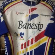 Colecionismo desportivo: PERICO DELGADO BANESTO SIGNED XL CAMISETA CICLISMO CICLISTA MAILLOT MAGLIA CYCLING JERSEY. Lote 176858203